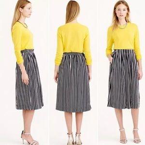 J Crew Pleated Midi Stripe Skirt Pockets C0777